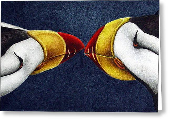 Waterfowl Paintings Greeting Cards - Puffins Greeting Card by Pat Erickson