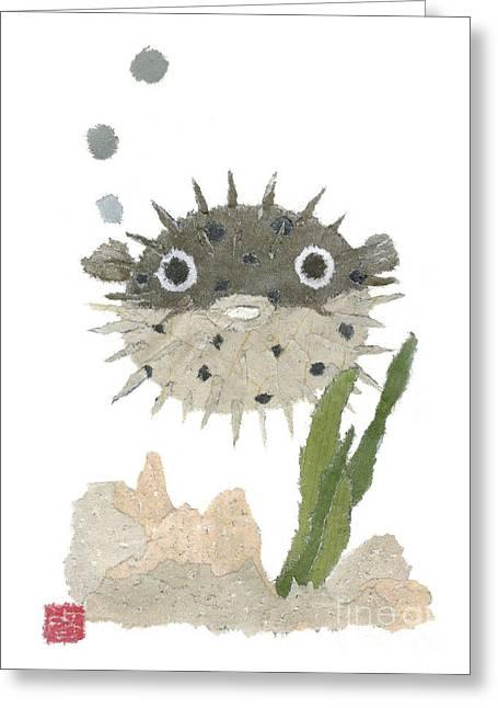 Tears Greeting Cards - Blowfish Art Greeting Card by Keiko Suzuki