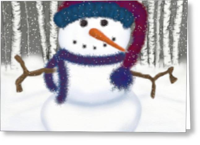 Blizzard Scenes Greeting Cards - Puffy The Snowman Greeting Card by Michelle Brenmark