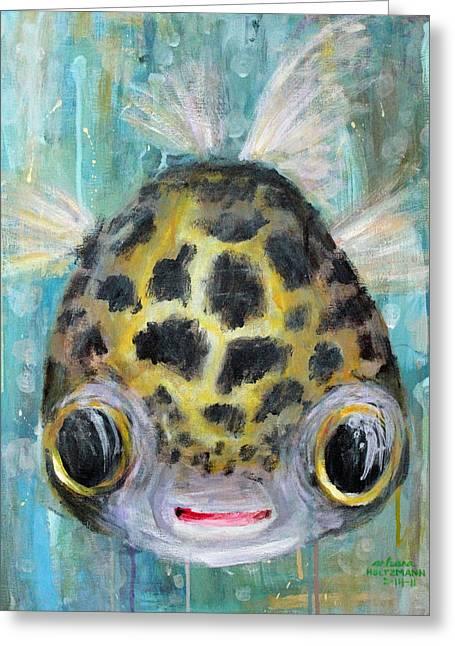 Puffer Greeting Cards - Puffy Underwater Greeting Card by Arleana Holtzmann