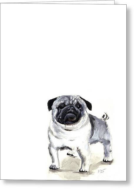 Pug 1 Greeting Card by Barbara Marcus