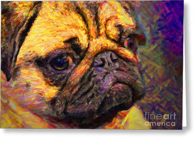 Puppies Digital Art Greeting Cards - Pug 20130126v1 Greeting Card by Wingsdomain Art and Photography