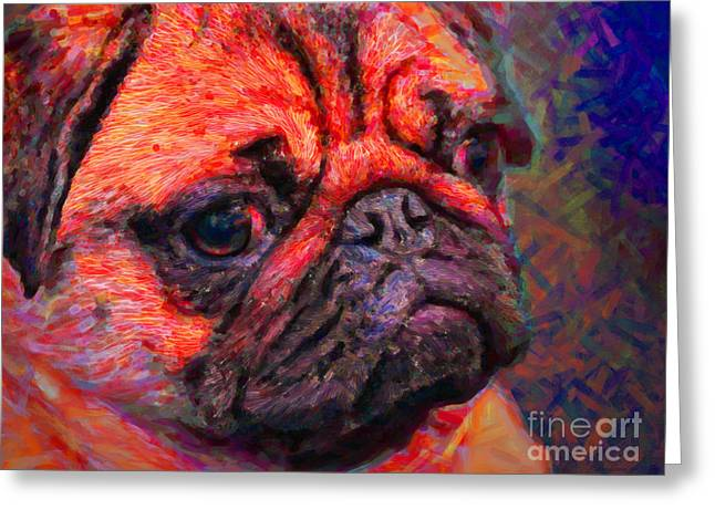 Puppies Digital Greeting Cards - Pug 20130126v2 Greeting Card by Wingsdomain Art and Photography