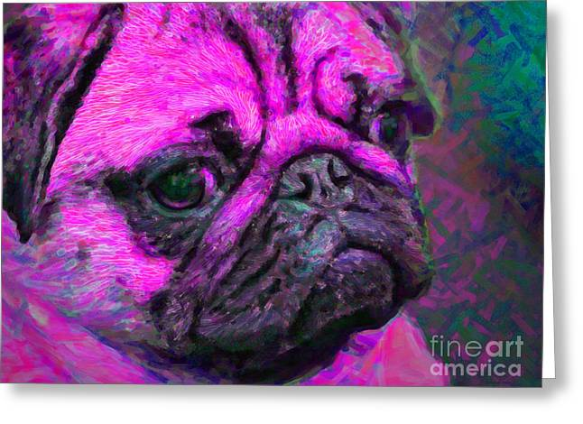 Puppies Digital Greeting Cards - Pug 20130126v3 Greeting Card by Wingsdomain Art and Photography