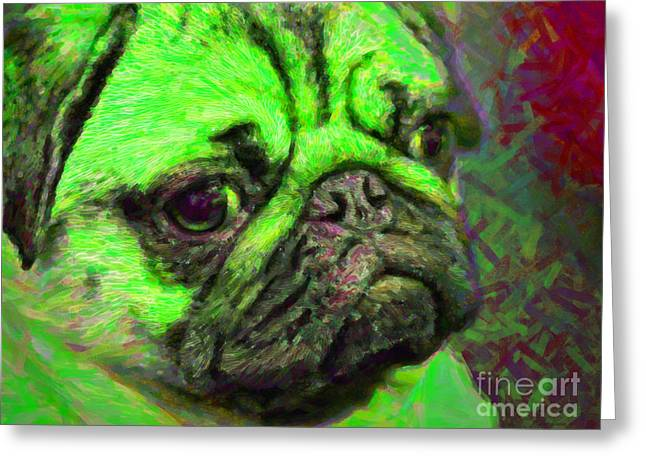 Puppies Digital Greeting Cards - Pug 20130126v4 Greeting Card by Wingsdomain Art and Photography
