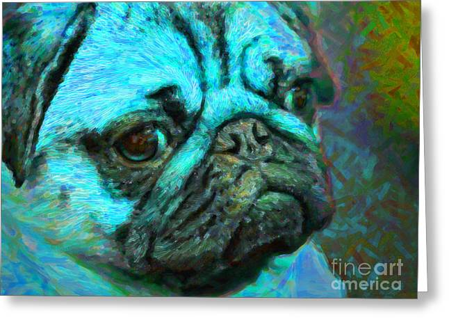 Puppies Digital Greeting Cards - Pug 20130126v5 Greeting Card by Wingsdomain Art and Photography