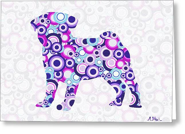 Puppies Mixed Media Greeting Cards - Pug - Animal Art Greeting Card by Anastasiya Malakhova
