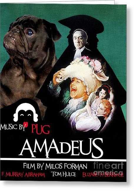 Pug Posters Greeting Cards - Pug Art - Amadeus Movie Poster Greeting Card by Sandra Sij