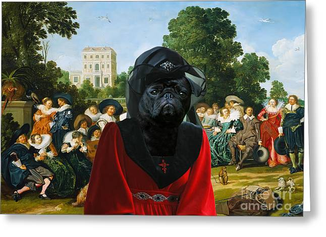 Pug Posters Greeting Cards - Pug Art Canvas Print Greeting Card by Sandra Sij