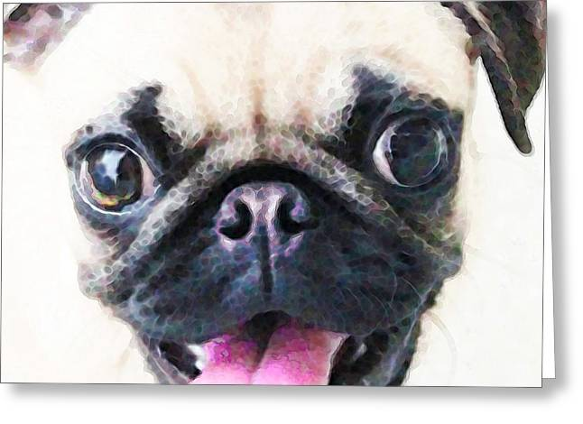 Buy Dog Art Greeting Cards - Pug Art - Ready Set Pug Greeting Card by Sharon Cummings