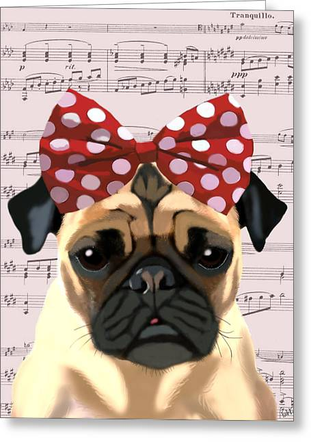 Pug Posters Greeting Cards - Pug Bow in Hair Greeting Card by Kelly McLaughlan