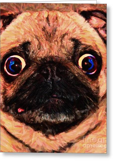 Toy Dogs Digital Art Greeting Cards - Pug Dog - Painterly Greeting Card by Wingsdomain Art and Photography
