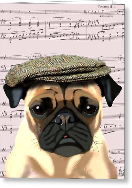Dogs. Pugs Greeting Cards - Pug in a Flat Cap Greeting Card by Kelly McLaughlan