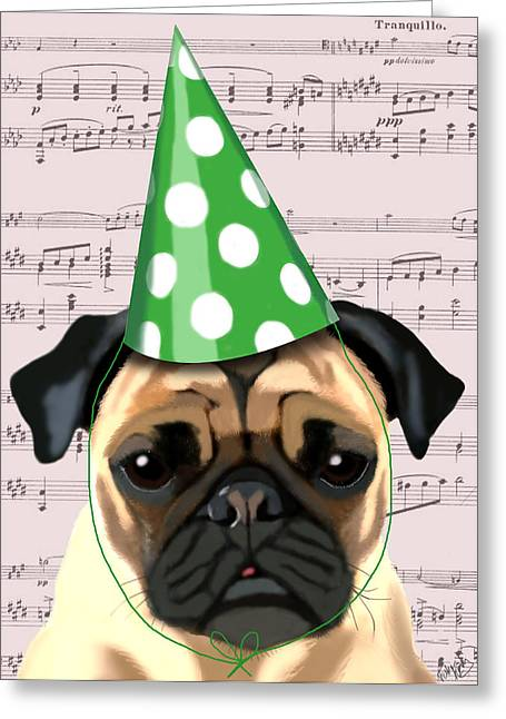 Dogs. Pugs Greeting Cards - Pug in a party Hat Greeting Card by Kelly McLaughlan