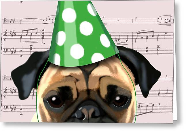 Pug in a party Hat Greeting Card by Kelly McLaughlan