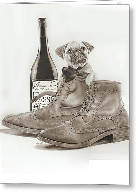 French Wine Bottles Drawings Greeting Cards - Pug In Boots Greeting Card by Terri Meredith