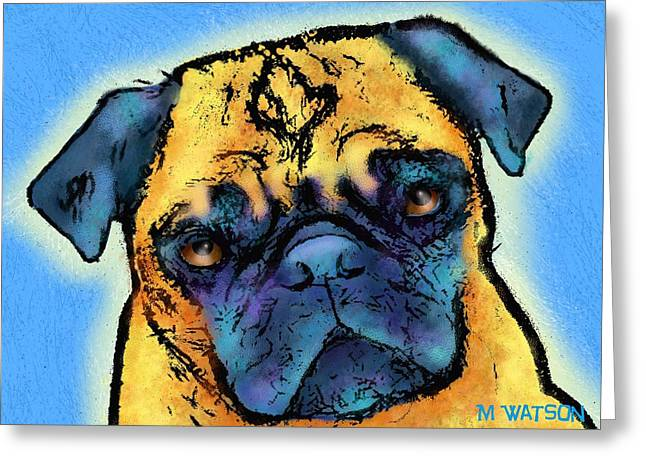 Pug Greeting Card by Marlene Watson