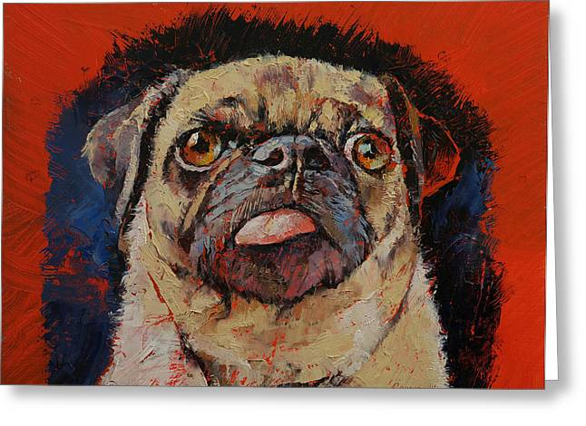 Carlin Greeting Cards - Pug Portrait Greeting Card by Michael Creese