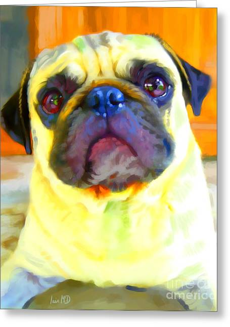 Cute Puppy Pictures Digital Art Greeting Cards - Pug Painting Greeting Card by Iain McDonald