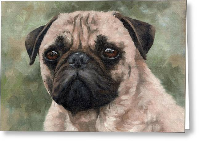 Domestic Pets Greeting Cards - Pug Portrait Painting Greeting Card by Rachel Stribbling