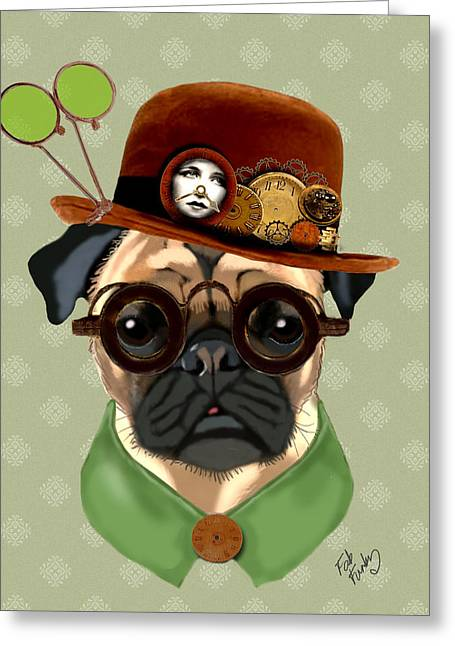 Pug Prints Greeting Cards - Pug Steampunk in a Bowler Hat Greeting Card by Kelly McLaughlan