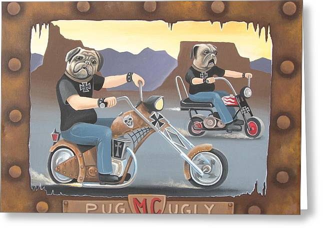 Rivets Paintings Greeting Cards - Pug Ugly M.C. Greeting Card by Stuart Swartz