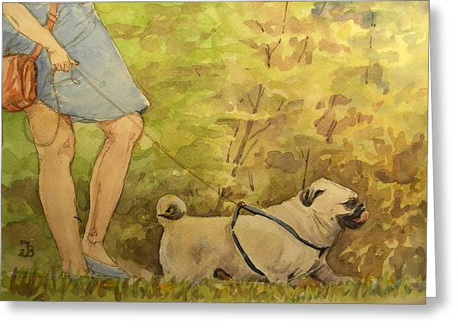 Bulldog Paintings Greeting Cards - Pug walkign Greeting Card by Juan  Bosco