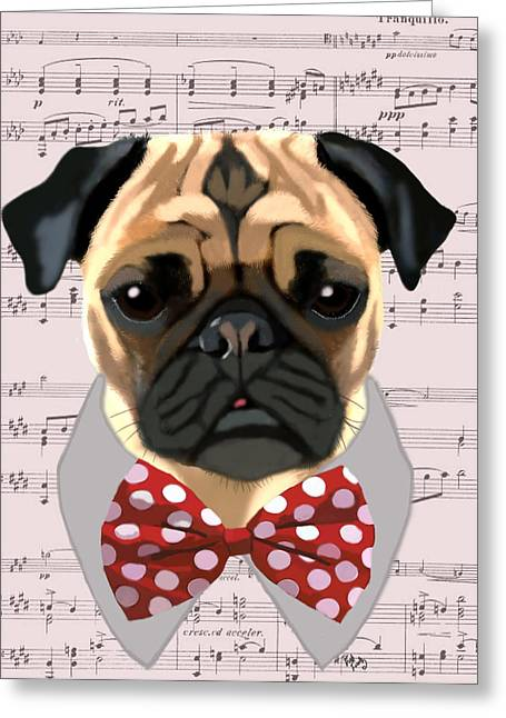 Pug Prints Greeting Cards - Pug With Bow Tie Greeting Card by Kelly McLaughlan