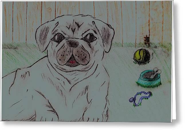 Pug Yard Greeting Card by Shaunna Juuti
