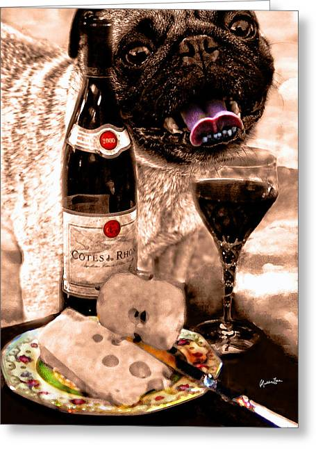 Table Wine Greeting Cards - Pugalicious 2 Greeting Card by Madeline Ellis