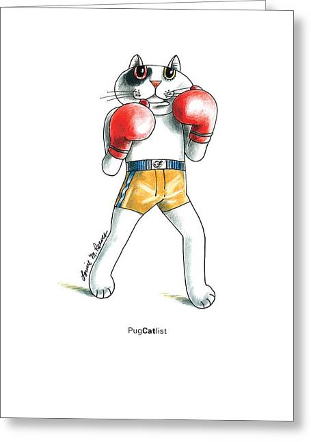 Sports Glove Drawings Greeting Cards - PugCATlist Greeting Card by Louise McClain Reeves