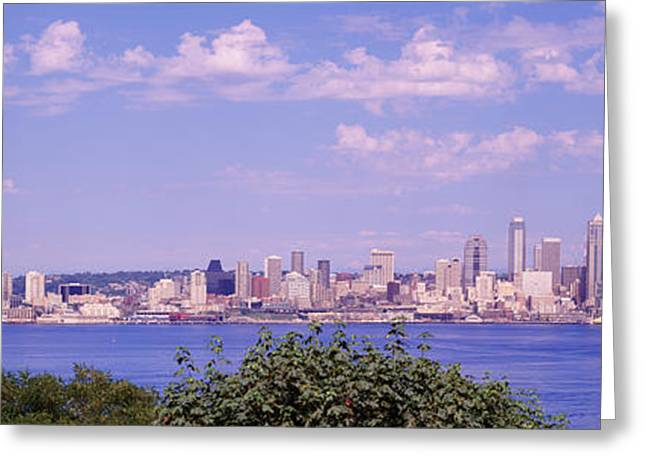 Urban Buildings Greeting Cards - Puget Sound, City Skyline, Seattle Greeting Card by Panoramic Images