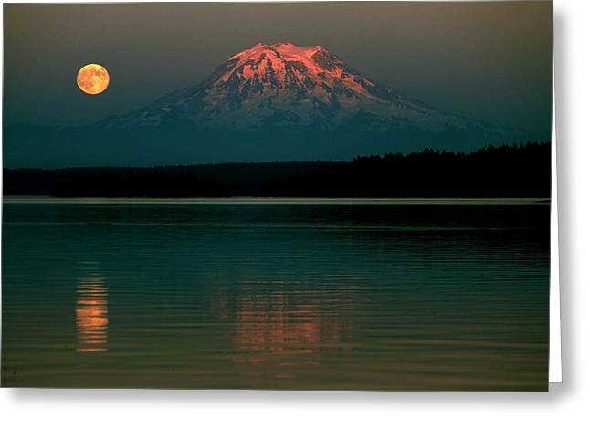 Moonrise Greeting Cards - Puget Sound Moonrise Greeting Card by Benjamin Yeager