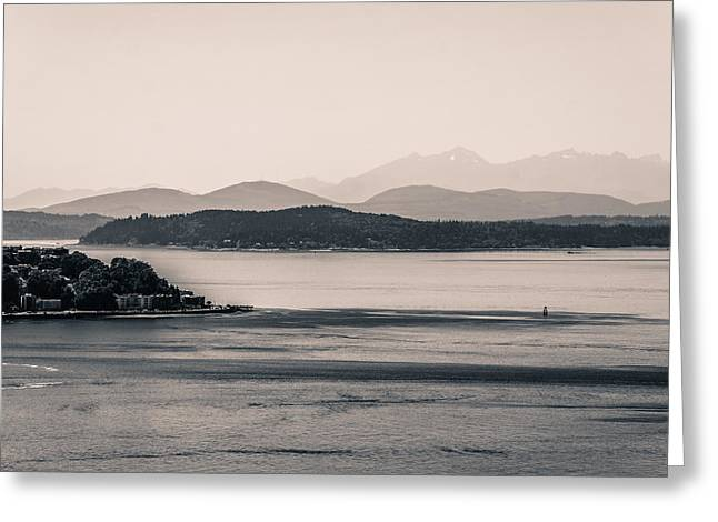Alki Beach Greeting Cards - Puget Sound on a Summer Afternoon Greeting Card by Ronda Broatch