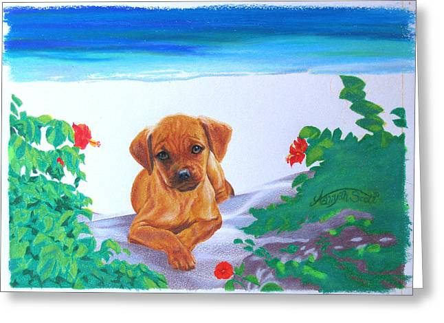Puggle Greeting Cards - Puggle Dog Art puppy Tropical Beach Landscape Painting  Greeting Card by Aaliyah Scott