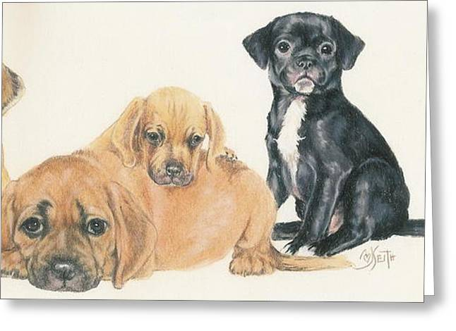 Toy Dogs Mixed Media Greeting Cards - Puggle Puppies Greeting Card by Barbara Keith