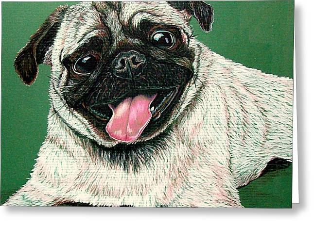 Toy Dog Drawings Greeting Cards - Pugs And Kisses Greeting Card by Susan Bergstrom