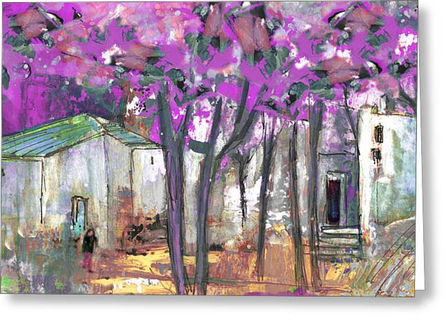 Languedoc Drawings Greeting Cards - Puicheric 02 Greeting Card by Miki De Goodaboom