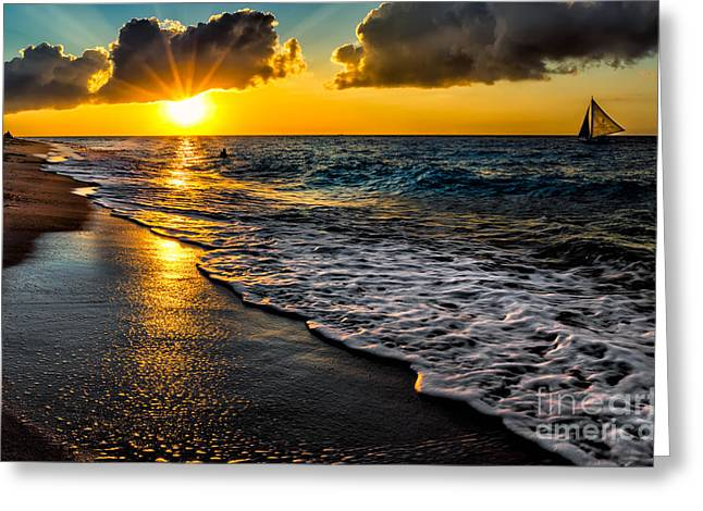 Sun Rays Digital Art Greeting Cards - Puka Beach Sunset Greeting Card by Adrian Evans