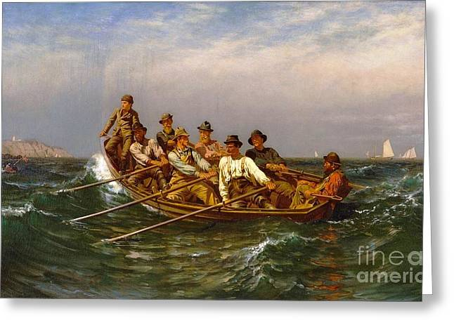 Rowers Paintings Greeting Cards - Pull for the Shore Greeting Card by Pg Reproductions