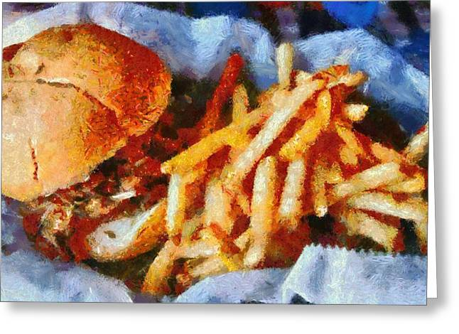 French Fries Greeting Cards - Pulled Pork Sandwich And French Fries Greeting Card by Dan Sproul