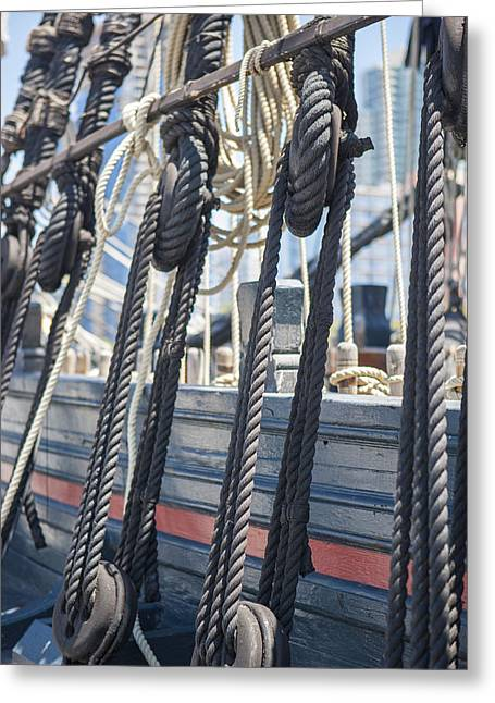And Merchant Ships Greeting Cards - Pulley and Stay Greeting Card by Scott Campbell