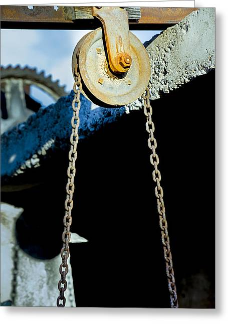 Ferrum Greeting Cards - Pulley Greeting Card by Fran Riley