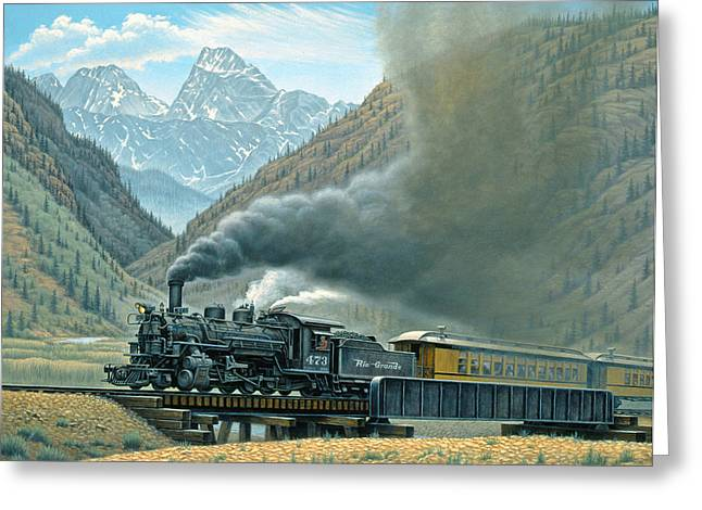 Trains Paintings Greeting Cards - Pulling for Silverton Greeting Card by Paul Krapf