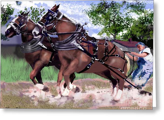 Pulling Horses Greeting Card by Jim Hubbard