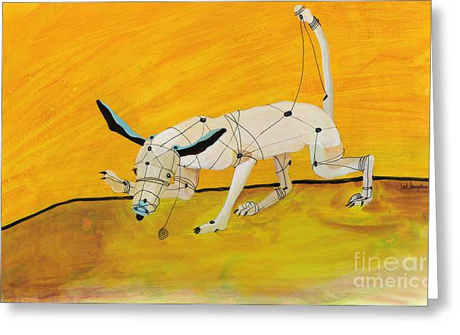 Toy Dogs Paintings Greeting Cards - Pulling My Own Strings Greeting Card by Pat Saunders-White