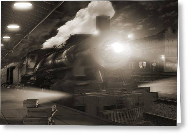 Classic American Railroad Greeting Cards - Pulling Out 2 Greeting Card by Mike McGlothlen