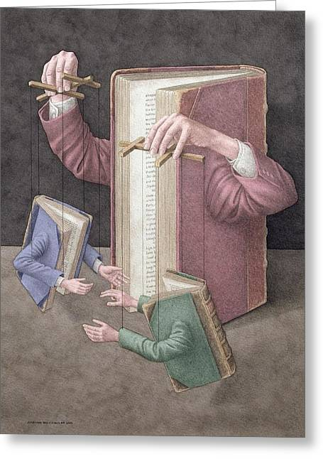 Puppets Greeting Cards - Pulling Strings, 2005 Wc On Paper Greeting Card by Jonathan Wolstenholme