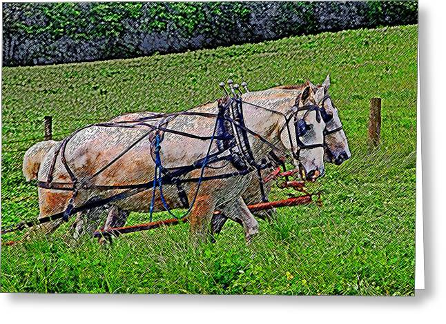 Equine Art Work Greeting Cards - Pulling Their Weight Greeting Card by Brian Graybill