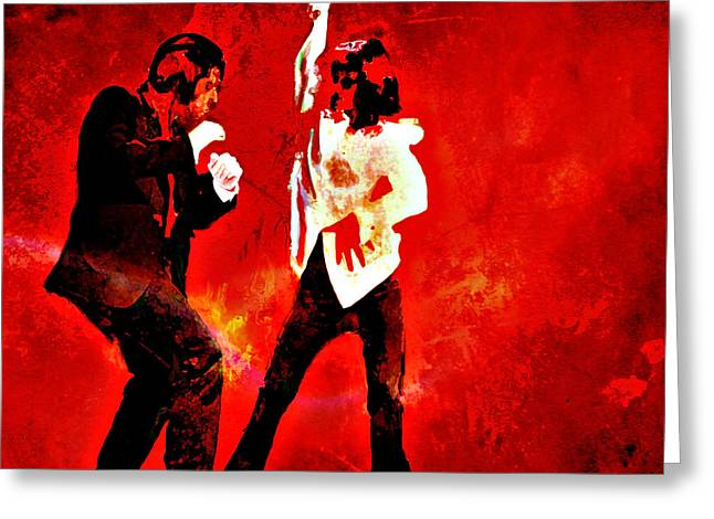 Samuel L Jackson Greeting Cards - Pulp Fiction Dance 2 Greeting Card by Brian Reaves
